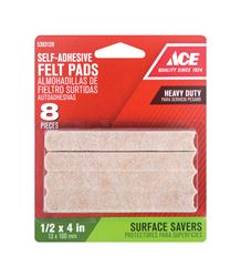 Ace  Felt  Rectangle  Self Adhesive Pad  Brown  1/2 in. W x 4 in. L 8 pk