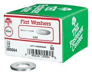 Hillman  Zinc  1/2 in. SAE Flat Washer  50 pk