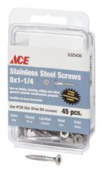 Ace  Deck Screws  Star  High/Low  No. 8  1-1/4 in. L Silver