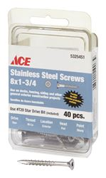 Ace  Deck Screws  Star  High/Low  No. 8  1-3/4 in. L Silver