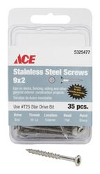 Ace  Deck Screws  Star  High/Low  No. 9  2 in. L Silver