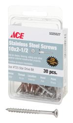 Ace  Deck Screws  Star  High/Low  No. 10  2-1/2 in. L Silver