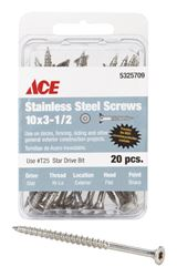Ace  Deck Screws  Star  High/Low  No. 10  3-1/2 in. L Silver