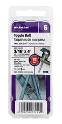 Hillman  Fas-N- Tite  Zinc Plated Steel  Round  Toggle Bolt  1/4 in. Dia. x 4  L 2 pk