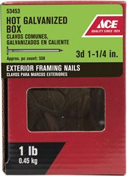 Ace  Flat  1-1/4 in. L Box  Nail  Thin  Hot-Dipped Galvanized  Steel  1 lb.