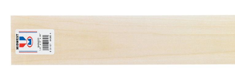 Midwest Products  Basswood  Sheet  1/4 in.  x 3 in. W x 2 ft. L