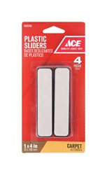 Ace  Plastic  Rectangle  Slide Glide  Brown  1 in. W x 4 in. L 4 pk