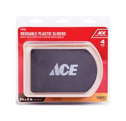 Ace  Plastic  Rectangle  Slide Glide  Brown  5-3/4 in. W x 8-1/4 in. L 4 pk