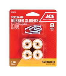 Ace  Rubber  Round  Round Slider for Hardwood Floors  Brown  1 in. W 8 pk