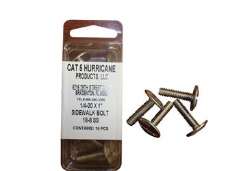 Cat 5  Sidewalk Bolts  1/4-20  Dia. x 1 in. L Stainless Steel  10 pk