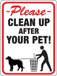 Hy-Ko  English  12 in. H x 9 in. W Plastic  Sign  Clean Up After Your Pet