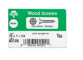 Hillman  Flat  Wood Screw  No. 10   x 1-1/4 in. L Zinc  Steel  100 pk