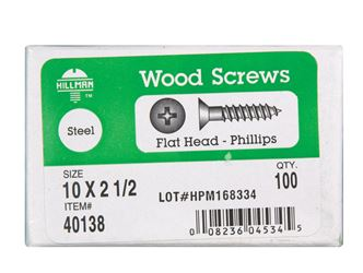 Hillman  Flat  Wood Screw  No. 10   x 2-1/2 in. L Zinc  Steel  100 pk