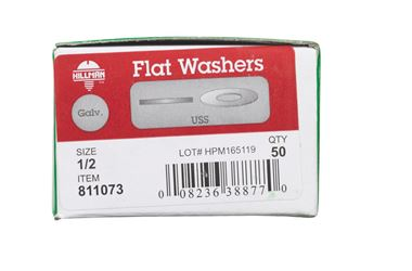 Hillman  Galvanized  Steel  1/2 in. USS Flat Washer  50 pk