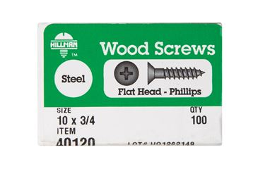 Hillman  Flat  Wood Screw  No. 10   x 3/4 in. L Zinc  Steel  100 pk