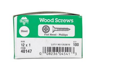 Hillman  Flat  Wood Screw  No. 12   x 1 in. L Zinc  Steel  100 pk
