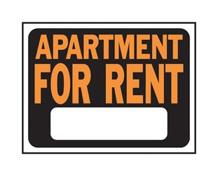 Hy-Ko  English  9 in. H x 12 in. W Plastic  Sign  Apartment for Rent