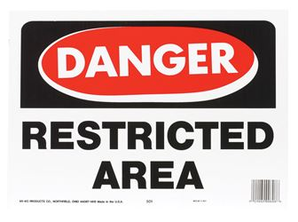 Hy-Ko  English  10 in. H x 14 in. W Plastic  OSHA Sign  Restricted Area