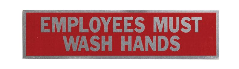 Hy-Ko  English  2 in. H x 8 in. W Aluminum  Sign  Employees Must Wash Hands