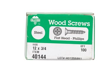 Hillman  Flat  Wood Screw  No. 12   x 3/4 in. L Zinc  Steel  100 pk