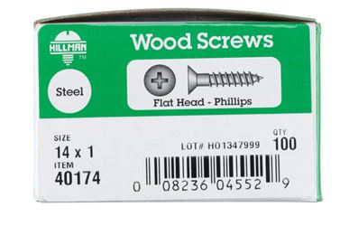 Hillman  Flat  Wood Screw  No. 14   x 1 in. L Zinc  Steel  100 pk
