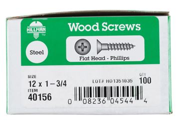 Hillman  Flat  Wood Screw  No. 12   x 1-3/4 in. L Zinc  Steel  100 pk