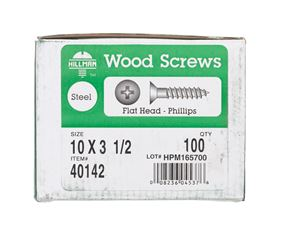Hillman  Flat  Wood Screw  No. 10   x 3-1/2 in. L Zinc  Steel  100 pk