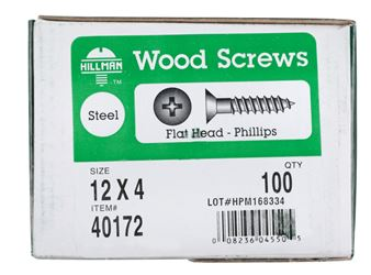 Hillman  Flat  Wood Screw  No. 12   x 4 in. L Zinc  Steel  100 pk