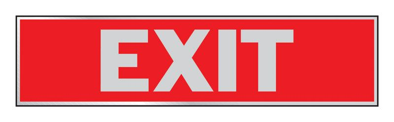 Hy-Ko  English  2 in. H x 8 in. W Aluminum  Sign  Exit