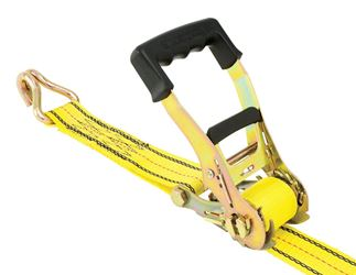 Pro Grip  Zinc  Heavy Duty  Ratchet Tie Down  27 ft. L 10,000  Double J Hooks  Yellow