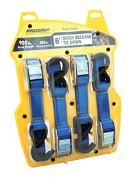 Pro Grip  Polyester  Cambuckle  Tie Down  6 ft. L 900 lb. S Hooks  Blue