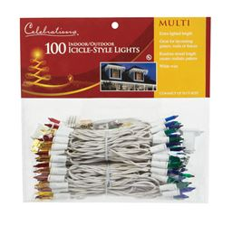 Celebrations  Incandescent  Mini  Icicle Light Set  Multicolored  10 ft. L 100 lights